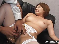Stocking clad asian finger fucked