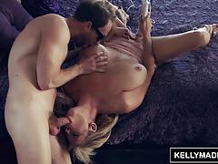 kelly madison, big tits, cumshot, swallow, facial, milf, big boobs