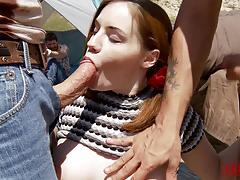 Teen natural slut double penetrated in public