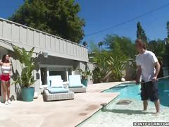 Slutty daughter sucks off poolboy