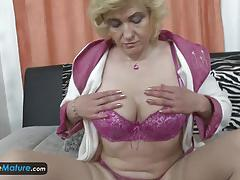 Big boobed blonde mature solo masturbation