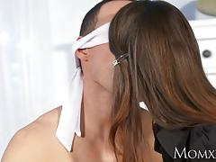 Lucky blindfolded husband tied up and fucked by wife