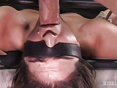 Brunette chick getting ravaged by two dominating guys