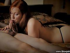 Redhead stuffs her mouth with hard cock
