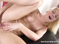 Feisty blonde takes vibrator in her ass while she pumps her pussy