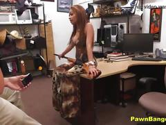 Busty latina milf banged by shop manager for extra cash