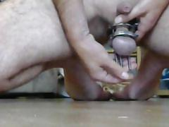 bdsm, cock torture, nipple clamps, anal insertion, extreme pain, mask, amateur, solo, huge dildo, bdsm bf videos
