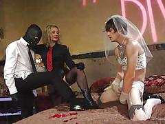 Pathetic cuck slave jacks off on the mistress's boots