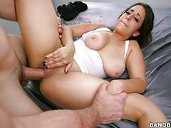 Slapping her tits with my hard cock
