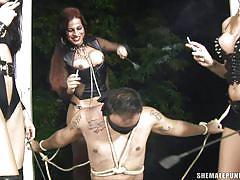 tranny, anal, babe, blonde, big tits, domination, foursome, group sex, blindfolded, shemale punishers, tranny pack, karol alves, saory vilella, tatiane ximenez