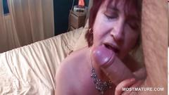 Bitchy mature enjoys sucking fat pecker