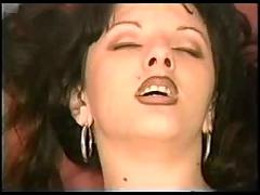 Brunette gets her pussy fingered and her mouth full