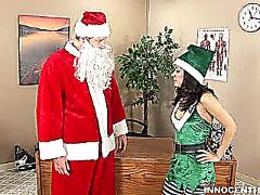 Horny elf tia riding santa chibbles cock