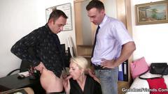 granny, mature, threesome, big cock, blonde