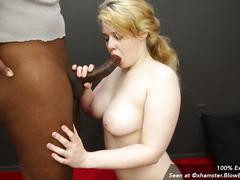 Chubby blowbang girl danielle gets face fucked by bbc