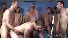 Horny guy gets fucked by many fat cocks