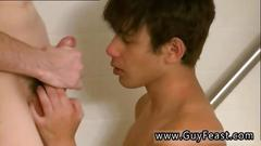 Sexy gay boy fucked doggy style in the shower