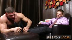 Gorgeous man in a suit gets his sexy feet worshiped