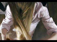 Passionate hair brushing and hair job