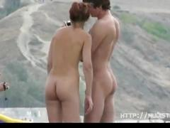 Horny nudist  girl seduced her boyfriend on beach
