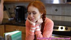 Petite redhead teen riding on tutors cock
