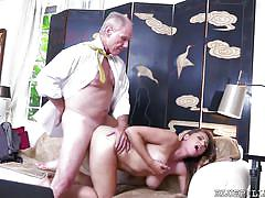 One hot pussy and two old dicks