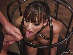 bdsm, submissive, big tits, babe, deepthroat, brunette, sex slave, bondage cage, on leash, sex and submission, kink, mark davis, charlotte cross