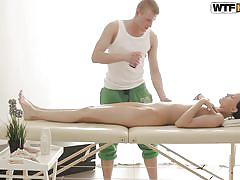 Just massage is not enough for this sexy brunette
