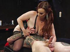 Hot mistress uses her loser slave as a sex toy