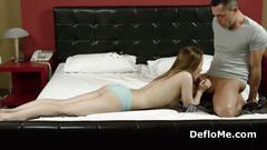 Girl sucks cock deeply and enjoys fingering
