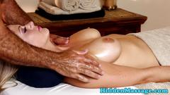 Curvy beauty pounded by horny masseur