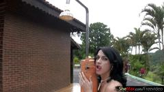 Slim t-girl shows big ass and perfect body in outdoor shower