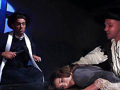 Theatrical performance turned into a hardcore gangbang