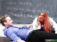 Redhead sucks teacher's cock for a better grade