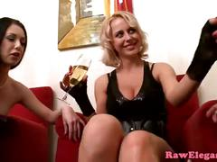 Glam eurobabes share cock in kinky threeway