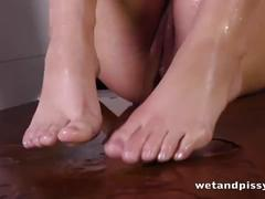 Lovely young chick loves to pee so much