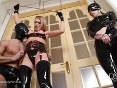 threesome, e, ass-licking, blonde, bondage, cumshot, femdom, kinky, latex, orgasm, lucy heart, nesty