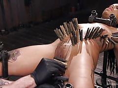 bdsm, babe, ebony, interracial, vibrator, tattooed, pierced clit, clothespins, metal bondage, device bondage, kink, the pope, jessica creepshow