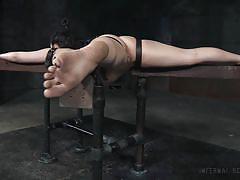bdsm, babe, stockings, dildo, vibrator, brunette, device bondage, head down, infernal restraints, endza adair