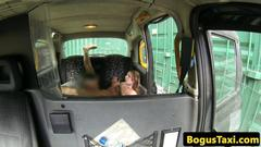 Bigtitted taxi milfs pussy eaten out good