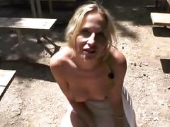 Naughty cutie in the woods rough bang - cum in mouth