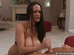 Brunette carmella bing jerking ends with jizz