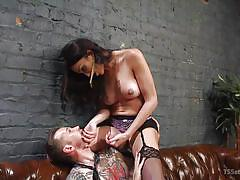 Stuffing his mouth with tranny dong