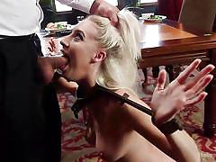 blonde, bdsm, babe, rough, tied up, sex slave, face fucking, pussy slapping, rope bondage, the upper floor, kink, ramon nomar, cadence lux, riley reyes