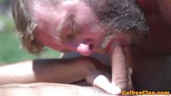 Muscular twink asslicked and fucked outdoors