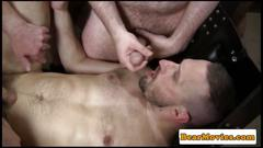 Suspended chub bear fucked by mature guy