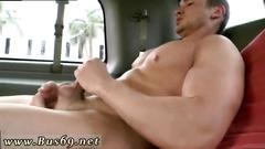 Bareback fucking with some handsome gay hunks in the car