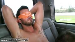 Blindfolded straight dude gets his dick sucked by a gay man