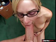 Blonde fucked in gangbang
