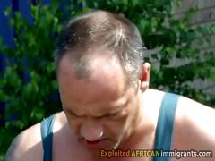 Horny pervs pee in black maries mouth